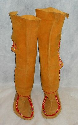 """Moccasins, Knee High Native American """"yurok"""" Suede W/beads, Unfinished Project!"""