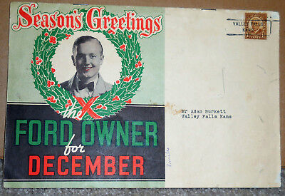 """1936 FORD OWNER for December """"Season's Greetings"""" Mailer accessories brochure #1"""