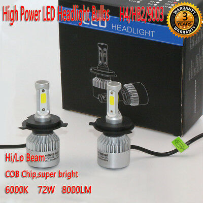 H4/HB2/9003 72W 8000LM LED Headlight Kit Bulbs Lamp Hi/Lo Beam White 6000K Auto