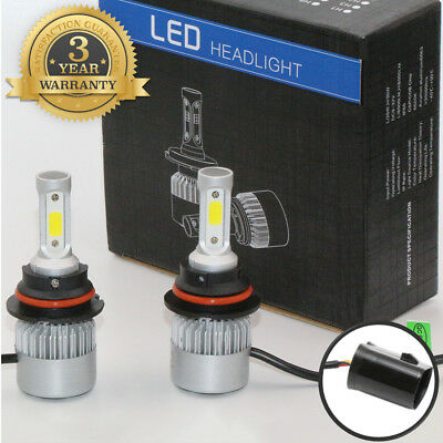 2PCS 9004/HB1 72W 8000LM S2 LED Headlight Kit Hi/Lo Beam Power Bulbs 6000K