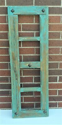 "SPANISH COLONIAL ANTIQUE 4 PANE WINDOW FRAME MEXICO 42 1/4"" x 14 3/8"" x 1 3/8"" t"
