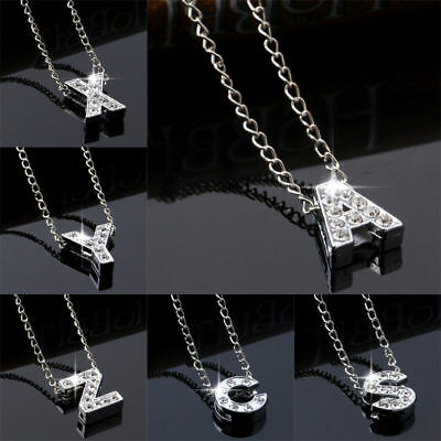 Initial Letter Necklace Silver Rhinestone Crystal Alphabet A-Z Letters Pendants