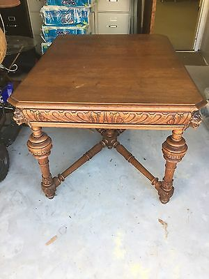 Antique 5-Legged Mechelen Oak Dining Table with Carved Lions & Turned Legs