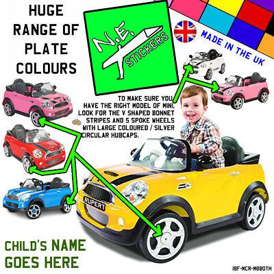 FRONT (+back?) kids number plate for ROLLPLAY Electric 6v MINI Cooper S car toy