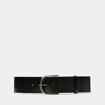 New Theory Womens Curved Belt In Calf Leather - Black