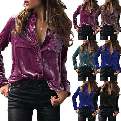 UK Fashion Women Ladies Velvet Long Sleeve Tops Slim Fit Blouse Casual T Shirt