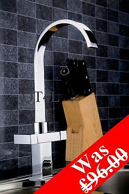 Square Modern (K3) Double Lever Kitchen Sink Mixer Tap - Was £96