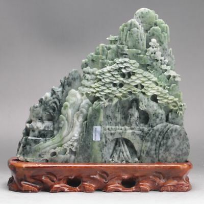 Exquisite 100% Natural DUSHAN Jade Hand Carved tree & Man Statue  yd8