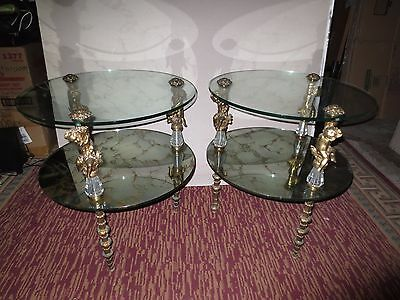 Vintage Pair Round Glass End Tables Brass Cherub Leg Gold Marbled Antique Decor