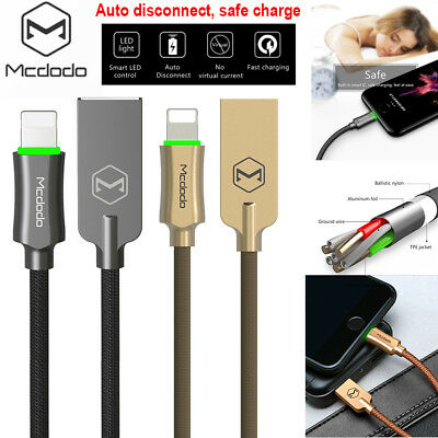 MCDODO LED Auto Disconnect Lightning Cable Data USB Charger for iPhone X 7/8/6S