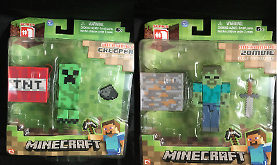 """Minecraft Overworld Zombie /creeper 3"""" Figures - Mojang - New Fully Articulated"""