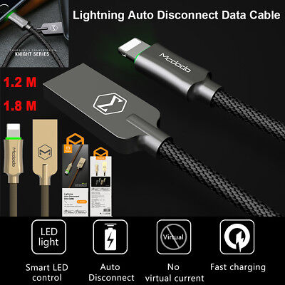 LED Auto Disconnect Lightning Cable Charger Data Sync For iPhone X 8 6S 7 Plus 5