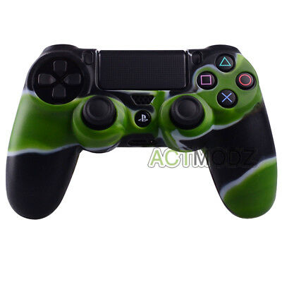 Green & Black Camo Silicone Case Rubber Skin For Playstation 4 PS4 Controller