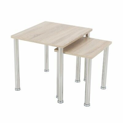 Modern Oak Effect 2 Side End Tables Nest Of Tables Light Wood Finish Pair