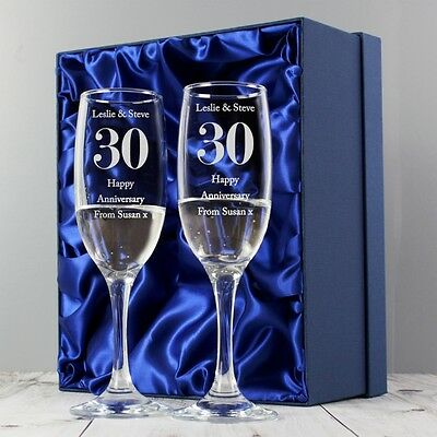PERSONALISED Wedding (Any) Anniversary Flutes Gift Set - SIlver Ruby Golden 1st