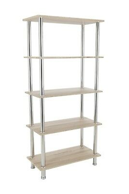 5 Tier Sonoma Oak Shelving Unit Display Cabinet Shelf Natural Light Wood Effect