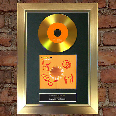 GOLD DISC COLDPLAY Signed Repro Autograph CD & Cover Mounted Print A4 83