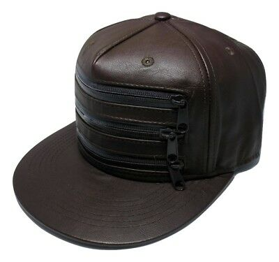 Funky Brown Leather Snapback Hat Cap With Zips Font Panel