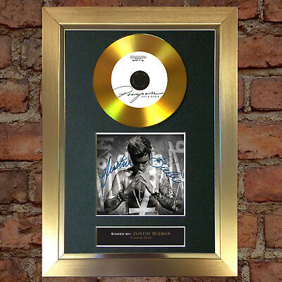 GOLD DISC JUSTIN BIEBER Purpose Signed Autograph CD & Cover Mounted Print A4 86