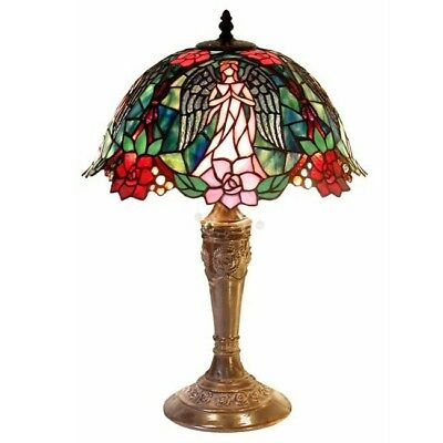 Tiffany-style Angel Table Lamp Stained Glass Art Home Decor Craftsman