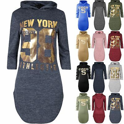 Ladies Womens Curved Hem Hooded New York 98 Gold Foil Marl Knitted Shirt Dress
