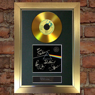 GOLD DISC PINK FLOYD Dark Side.. Signed Autograph CD & Cover Mounted Print A4 96