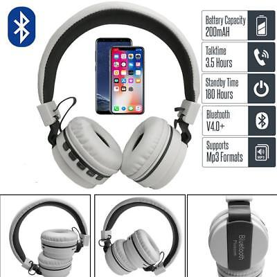 Fold-able Wireless Bluetooth Over The Ear Headset White Long Battery Life