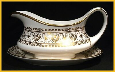 Crown Staffordshire Gold Victoria Gravy Boat & Saucer-  1st Quality New Unused