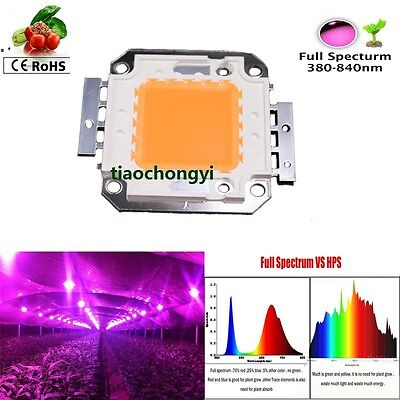 1pcs 100W 380-840nm Full Spectrum High Power LED Chip Grow Light for hydroponics