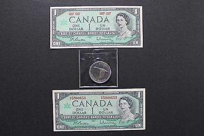 Set of 3 Bank of Canada Two Notes 1867/1967, 1967 serial #,Canada Goose $1 coin