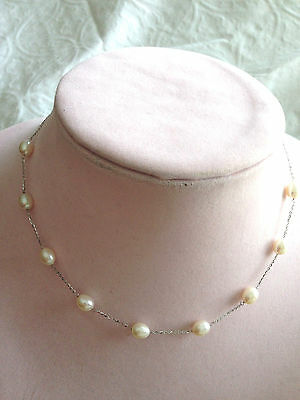 """HONORA 14K WHITE GOLD CULTURED PEARL 6.0 mm STATION 16"""" NECKLACE (M317-47)"""
