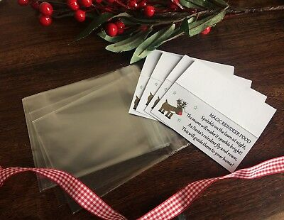 Diy Reindeer Food Dust Christmas Childminding Xmas Activity Labels & Cello Bags