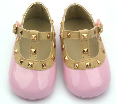 Brand new baby girl stud Mary Jane pram crib shoes pre-walkers pink white patent