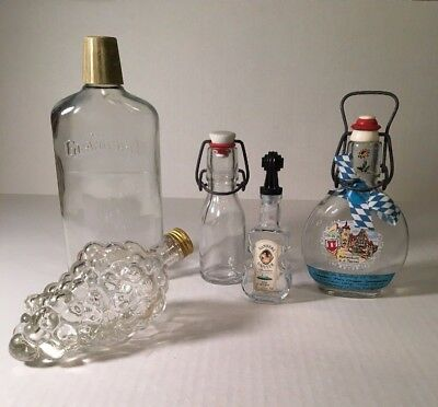 VINTAGE GLASS BOTTLES Empty Liquor Beverage Lot of 5 Collectible Clear Glass