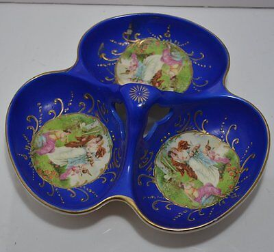 Royal blue painted 3-part bowl MAIDEN cupid man woodland MADE in JAPAN Japanese