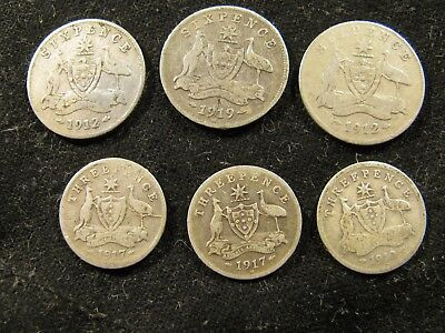 6-Australian Silver Coin Lot 1912,1912M,1919 Sixpence 1910,1917,1917M Threepence