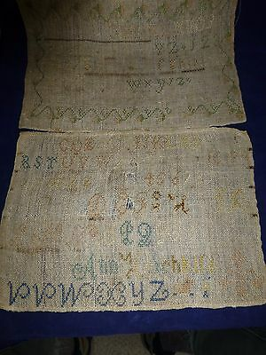 Two Antique Samplers Late 1700's Or Early 1800's