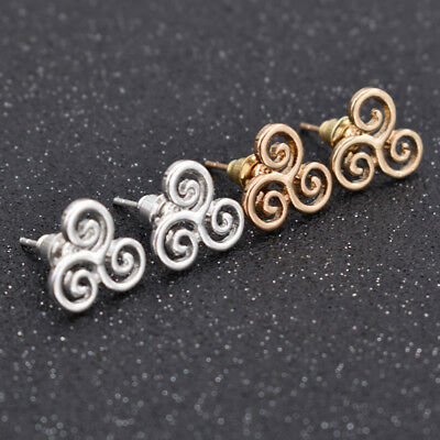 Triskele Earrings Celtic Triskelion Ear Studs Triquetra Jewelry Gift Multicolor