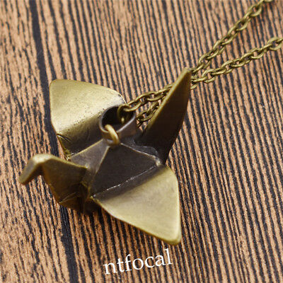 Womens Vintage Bronze Origami Pendant Necklace Jewerlry Ornament Gift Charm