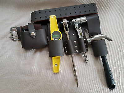New Scaffolding Black Leather Tools Belt 5in1 Tape Level Spanners Hammer Holder