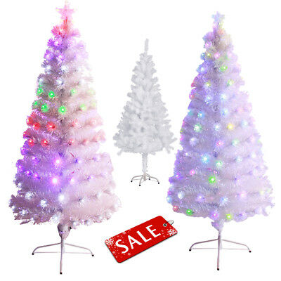 pre lit 3 8ft white artificial christmas tree multicolor lights holiday season