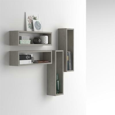 Mobili Fiver, Set of 4 wall-mounted cube shelves, Iacopo, Laminate-faced, Grey C