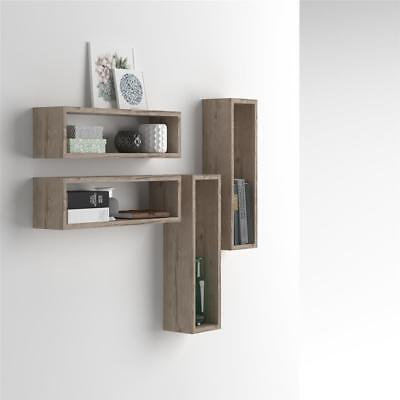 Mobilifiver, Set of 4 wall-mounted cube shelves, Iacopo, Laminate-faced, Oak, 59