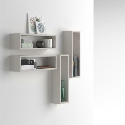 Mobilifiver, Set of 4 wall-mounted cube shelves, Iacopo, Laminate-faced, White A