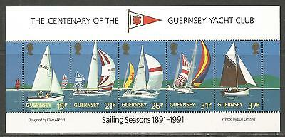 Guernsey 1991 Yacht Club 100th Anniv ss--Attractive Sports Topical (463a) MNH