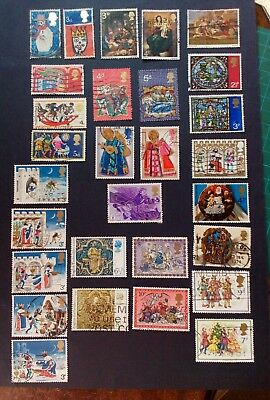 British Stamps,1966-79 Christmas Stamps from Great Britain nice postmarks 29