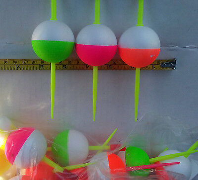 lot 100 Round 1-inch Slip-Peg Bobbers stick Floats Styro Hi-Vis Crappie Trout