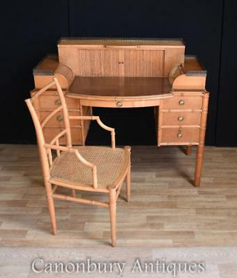 Regency Bamboo Desk and Chair Set Writing Table
