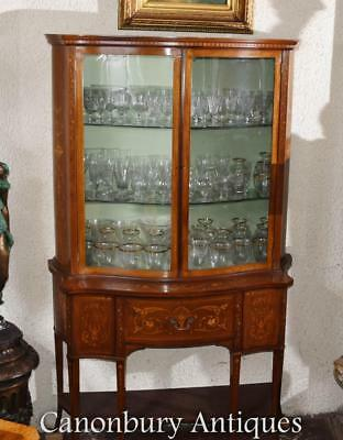 Regency Sheraton Bookcase Glass Display Cabinet Inlay