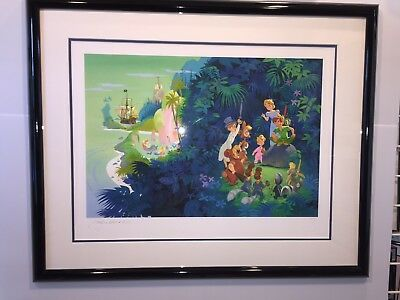 "Disney ""Neverland"" John Hench Peter Pan Disney Captain Hook Giclee Print Art Fr"